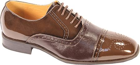 Giorgio Venturi Mens Brown Polished Cap Toe Leather Dress Shoes 5925
