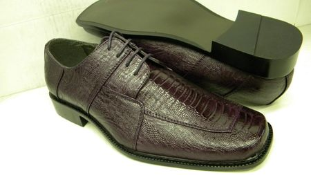 Bolano Mens Dark Purple Ostrich Print Dress Shoes 738 IS
