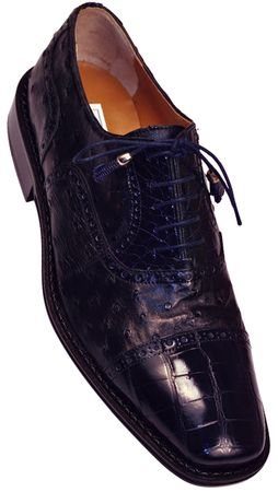 Ferrini Men's Navy Alligator Ostrich Cap Toe Shoes 203/528