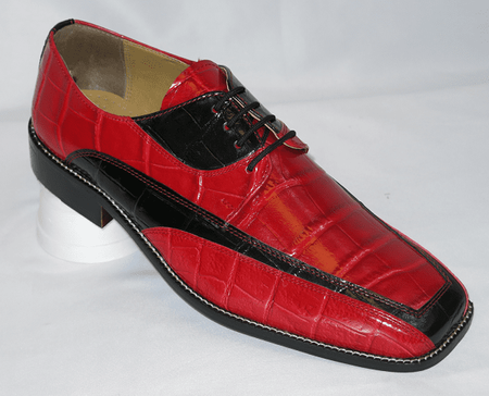Liberty Mens Red Black Gator Print Dress Shoes LS447