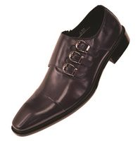 Steven Land Navy 3 Buckle Leather Dress Shoes SL308 IS