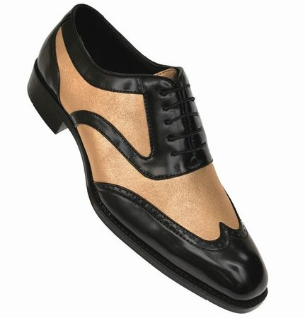 Bolano Mens Black Gold Wingtip Shoes Performer Lawson