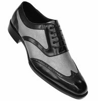 Bolano Mens Black Silver Wingtip Shoes Performer Lawson