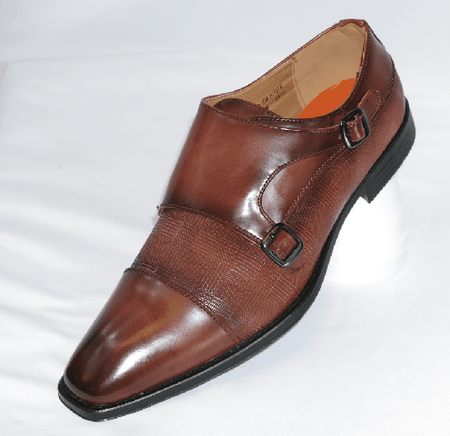 Antonio Mens Brown Italian Style Double Strap Dress Shoes 6670