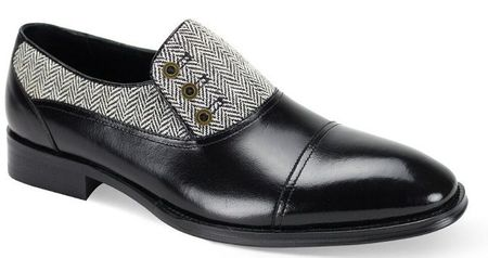 Giovanni Mens Black Tweed Leather 3 Button Cap Toe Laceless Shoes Gino
