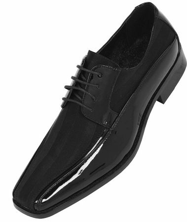 Tuxedo Shoes Mens Black Stripe Formal Footwear Bolano 179 IS - click to enlarge