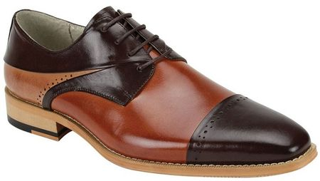 Giovanni Mens Chocolate/Whiskey/Tan Polished Leather Cap Toe Dress Shoes Hudson