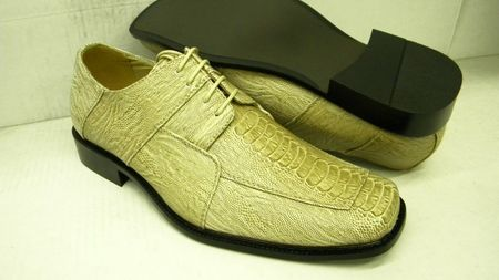 Bolano Mens Tan Ostrich Print Square Toe Dress Shoes 738 IS