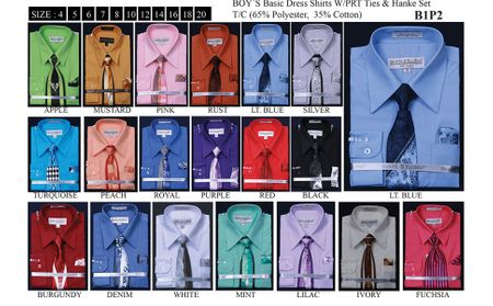 Boys Fashion Color Dress Shirt and Tie Set B1P2 - click to enlarge
