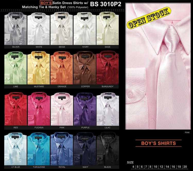 long sleeve Sizes 4-20 Boy/'s /&Kid/'s  Silky Satin Dress Shirts with Tie /& Hanky