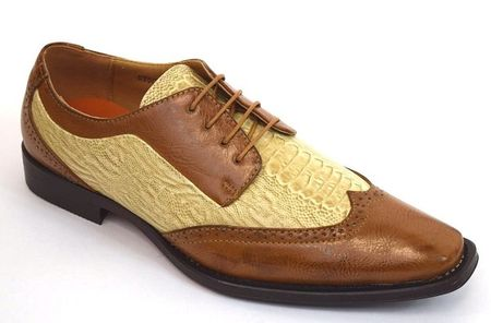 67d65fe7c4cb Antonio Mens Camel Two Tone Wingtip Dress Shoes 6608