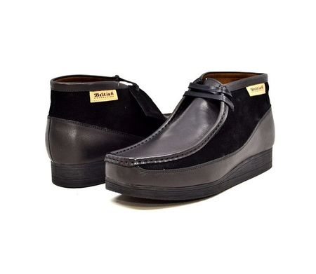British Walkers Moccasin Toe Chukka Black Leather Suede Newcastle