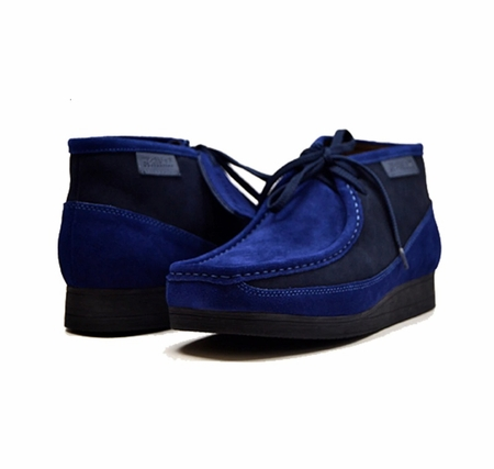 British Walkers Moccasin Toe Chukka Blue Gray Suede Newcastle Size 10.5