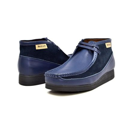 British Walkers Moccasin Toe Chukka Navy Leather Suede Newcastle