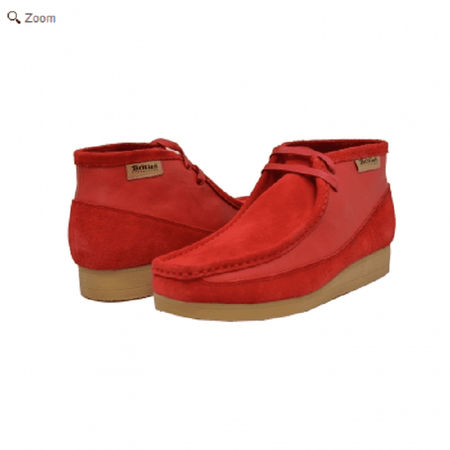 British Walkers Moccasin Toe Chukka Red Leather Suede Newcastle