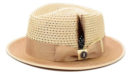 Bruno Capeli Summer Hat Mens Sand Two Tone Straw HA-723