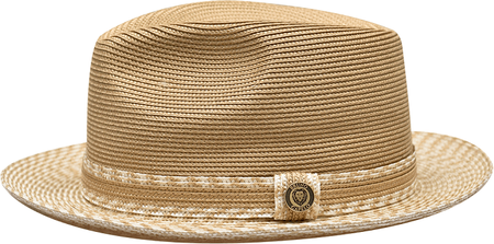 Men's Straw Fedora Hat Ivory Cognac Bruno Capelo MA-927 Size S,M