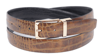 Bruno Capelli Mens Brown Black Crocodile Print Belt BC-1552