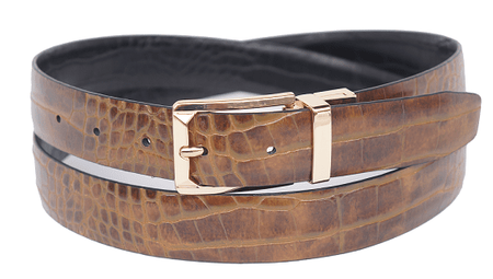 Bruno Capelli Mens Brown Black Crocodile Print Belt BC-1552 - click to enlarge