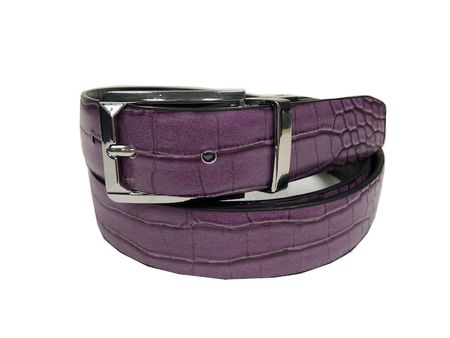 Bruno Capelli Mens Purple Black Crocodile Print Belt BC-1560