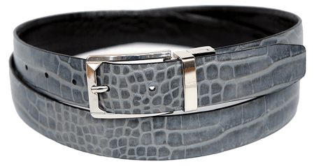 Bruno Capelli Mens Grey Black Crocodile Print Belt BC-1554