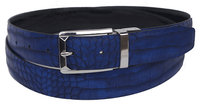 Bruno Capelli Mens Blue Black Crocodile Print Belt BC-1553