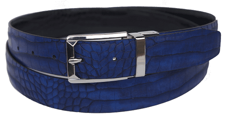 Bruno Capelli Mens Blue Black Crocodile Print Belt BC-1553 - click to enlarge