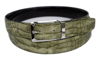 Bruno Capelli Mens Olive  Black Crocodile Print Belt BC-1555