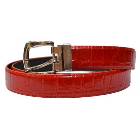 Bruno Capelli Mens Red Crocodile Print Belt Reversible BC-1559