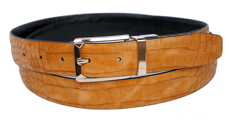 Bruno Capelli Mens Tan Black Crocodile Print Belt BC-1557