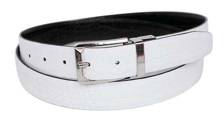 Bruno Capelli Mens White Black Crocodile Print Belt BC-1551 - click to enlarge