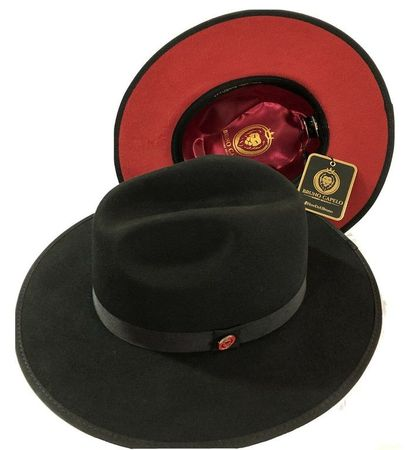 Men's Black Red Bottom Hat Extra Wide Brim Wool Bruno MO-200  - click to enlarge