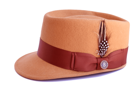 Bruno Capelo Camel Brown Band Legion Wool Fashion Hat LG-112 Size S