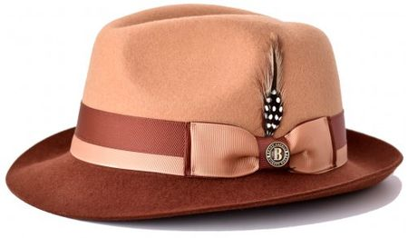 2ee4ec1ff7b Bruno Capelo Men s Camel Brandy Two Tone Fedora Hat CA-343