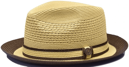 Bruno Capelo Men's Natural Brown Vented Straw Fedora Hat DT935