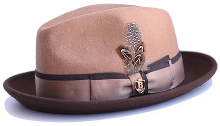 34b960433a9 Bruno Capelo Mens Camel Brown Fedora Hat MI-204