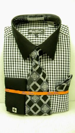 Bruno Conte Black Ginham Plaid French Cuff Shirt Tie Set BC992