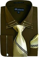 Milano Mens Fancy Trim Brown French Cuff Shirt Tie Set SG28