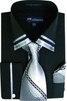 Milano Mens Fancy Trim Black French Cuff Shirt Tie Set SG28