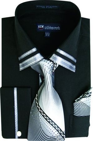 Milano Mens Fancy Trim Black French Cuff Shirt Tie Set SG28 - click to enlarge