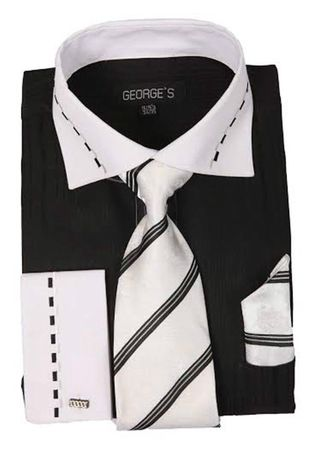 George Black White Collar Cuff Dress Shirt Tie Set AH621 - click to enlarge
