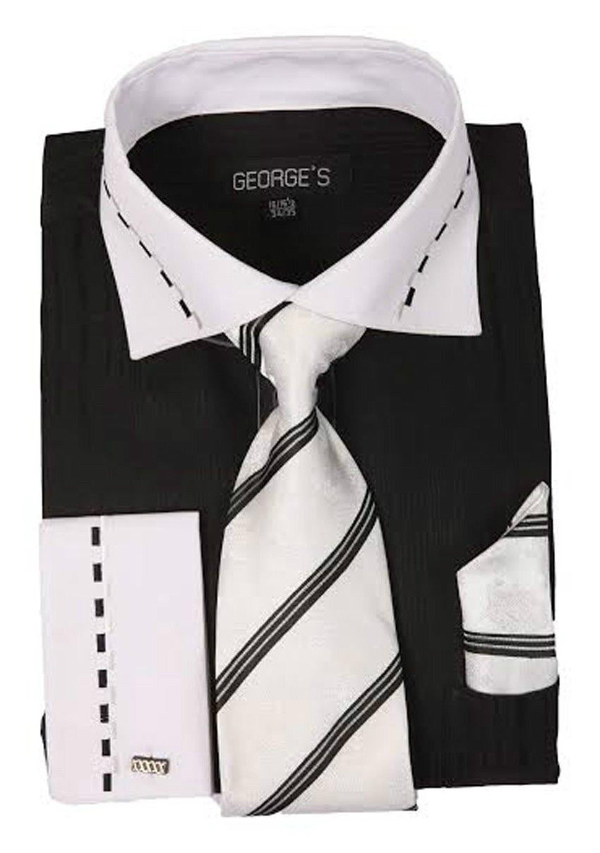 New Men/'s French Cuff Dress Shirt Handkerchief Set Spread Collar SG27 Tie
