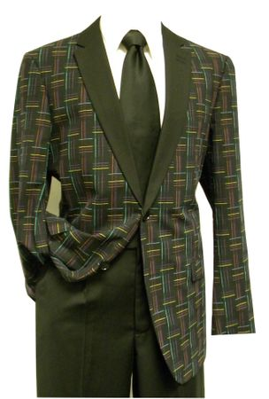 Bruno Conte Mens Black Multi Pattern Blazer MC030 Size Medium Final Sale