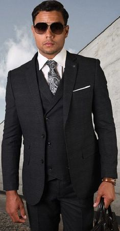 Statement Pure Wool Tailored Fit 3 Piece Charcoal Windowpane Suit STZV-806 Size 44 Reg Final Sale