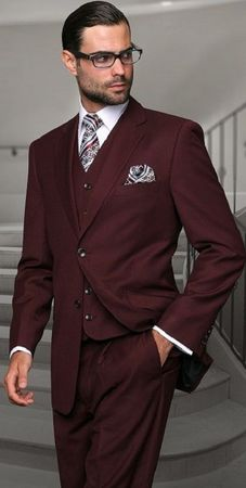 Statement Pure Wool Tailored Fit 3 Piece Suit Burgundy STZV-100 Size 38 Reg Final Sale