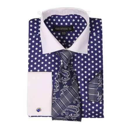 George Cotton Purple Polka Dot French Cuff Dress Shirt AH613
