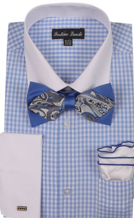 Milano Mens Blue Check French Cuff Bow Tie Shirt Set FL628 - click to enlarge