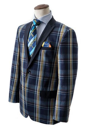 Bruno Conte Mens Navy Plaid Blazer Fashion MC034 Size 2XL Final Sale - click to enlarge
