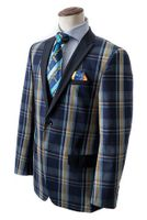 Bruno Conte Mens Navy Plaid Blazer Fashion MC034 Size 2XL Final Sale