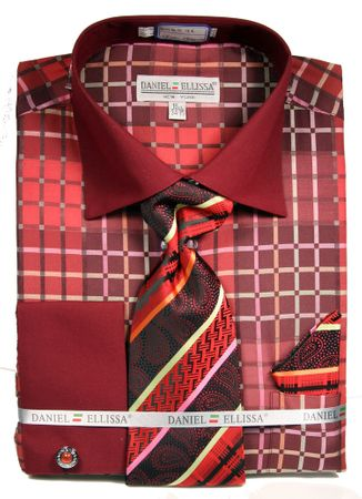 DE Mens French Cuff Dress Shirt Burgundy Unique Pattern Tie Set DS3785P2 - click to enlarge